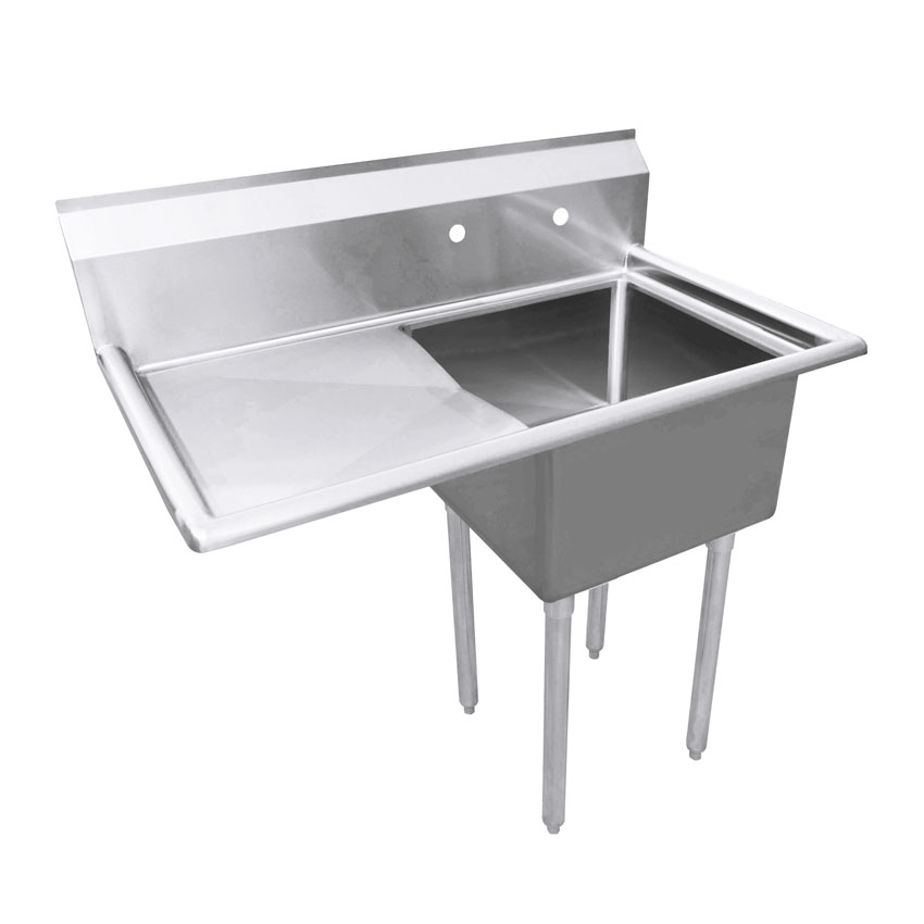 18 X 18 X 11 One Tub Sink With 1 8 Corner Drain And Left Drain Board
