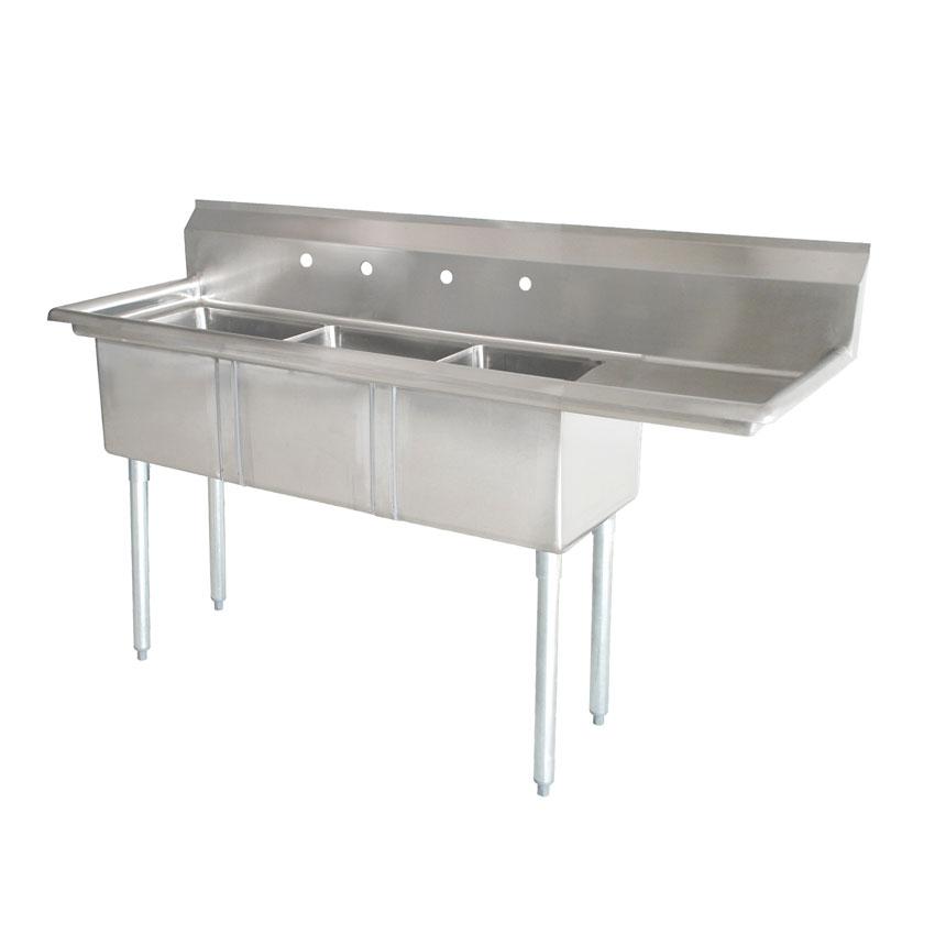 18 X 21 X 14 Three Tub Sink With 1 8 Corner Drain And Right Drain Board