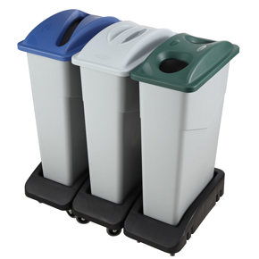 RECYCLING TRASH CONTAINER, LIDS, AND DOLLY