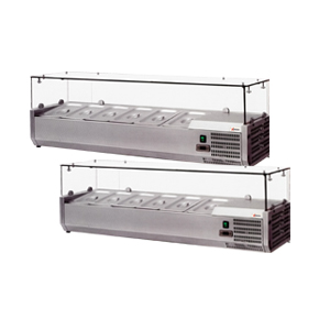 REFRIGERATED TOPPING RAILS WITH SNEEZE GUARD