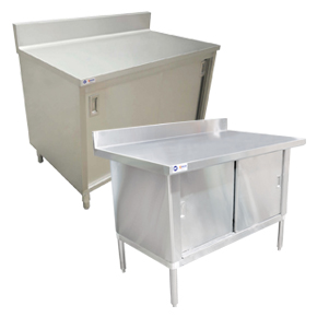 WORKTABLES WITH CABINETS AND BACKSPLASH