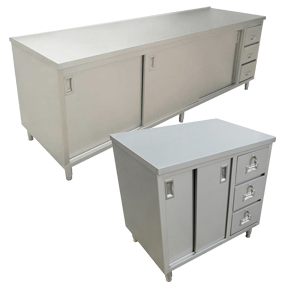 WORKTABLES WITH CABINETS AND DRAWERS