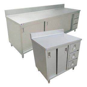 WORKTABLES WITH CABINETS, DRAWERS AND BACKSPLASH