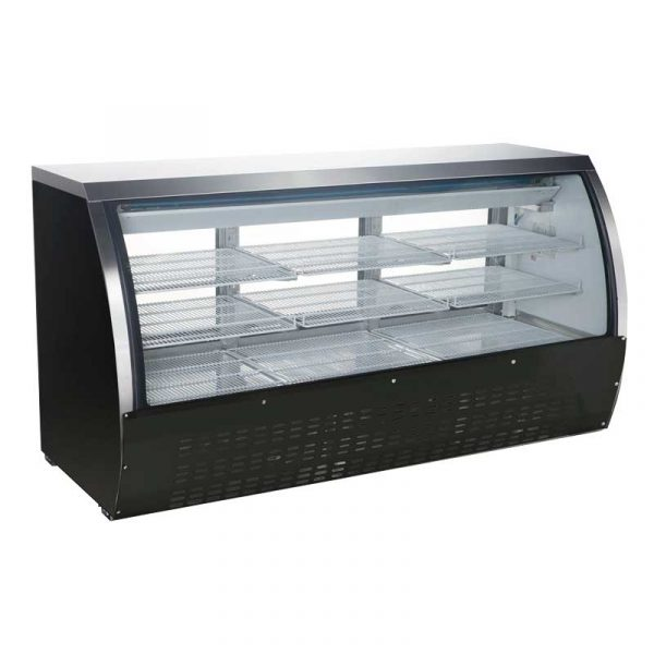 82-inch Refrigerated Floor Showcase with Black Coated Steel Exterior