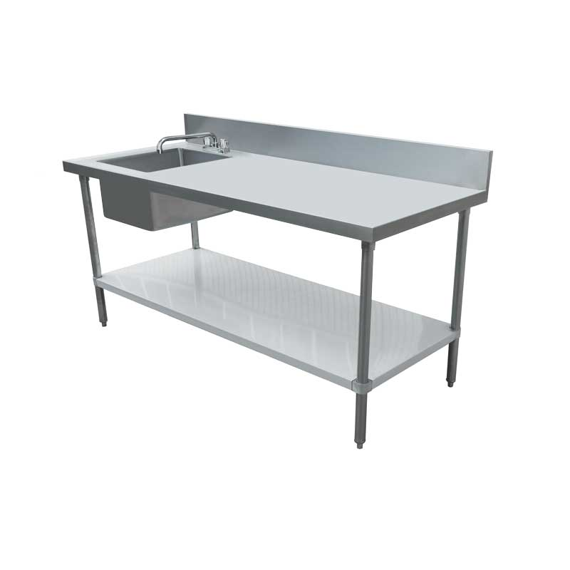 Marvelous 30 X 60 Stainless Steel Table With Left Sink And 6 Backsplash Home Remodeling Inspirations Cosmcuboardxyz