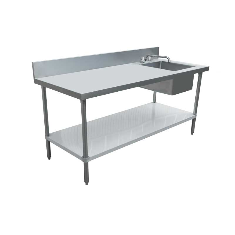 Prime 30 X 60 All Stainless Steel Table With Right Sink And 6 Backsplash Home Remodeling Inspirations Cosmcuboardxyz
