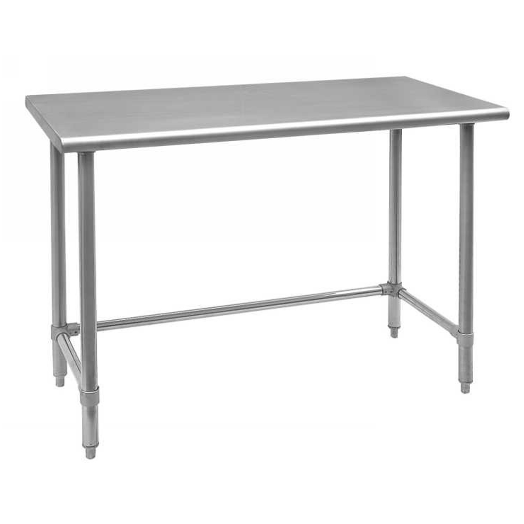 X Stainless Steel Worktable With Leg Brace And Open Base Omcan - 30 x 60 stainless steel work table