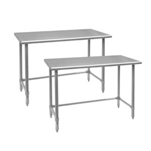 WORKTABLES WITH LEG BRACES AND OPEN BASE
