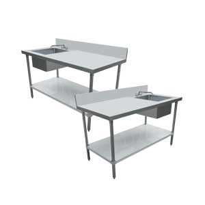 ALL STAINLESS STEEL TABLES WITH SINKS