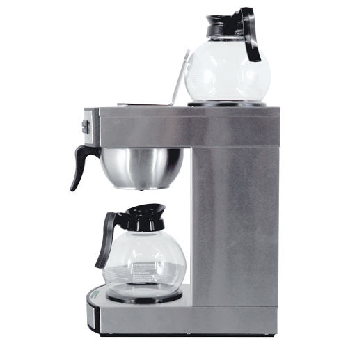 44313-Stainless Steel Coffee Maker with 2 Glass Decanter - Side View