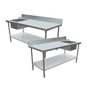 STAINLESS STEEL TABLES WITH SINKS