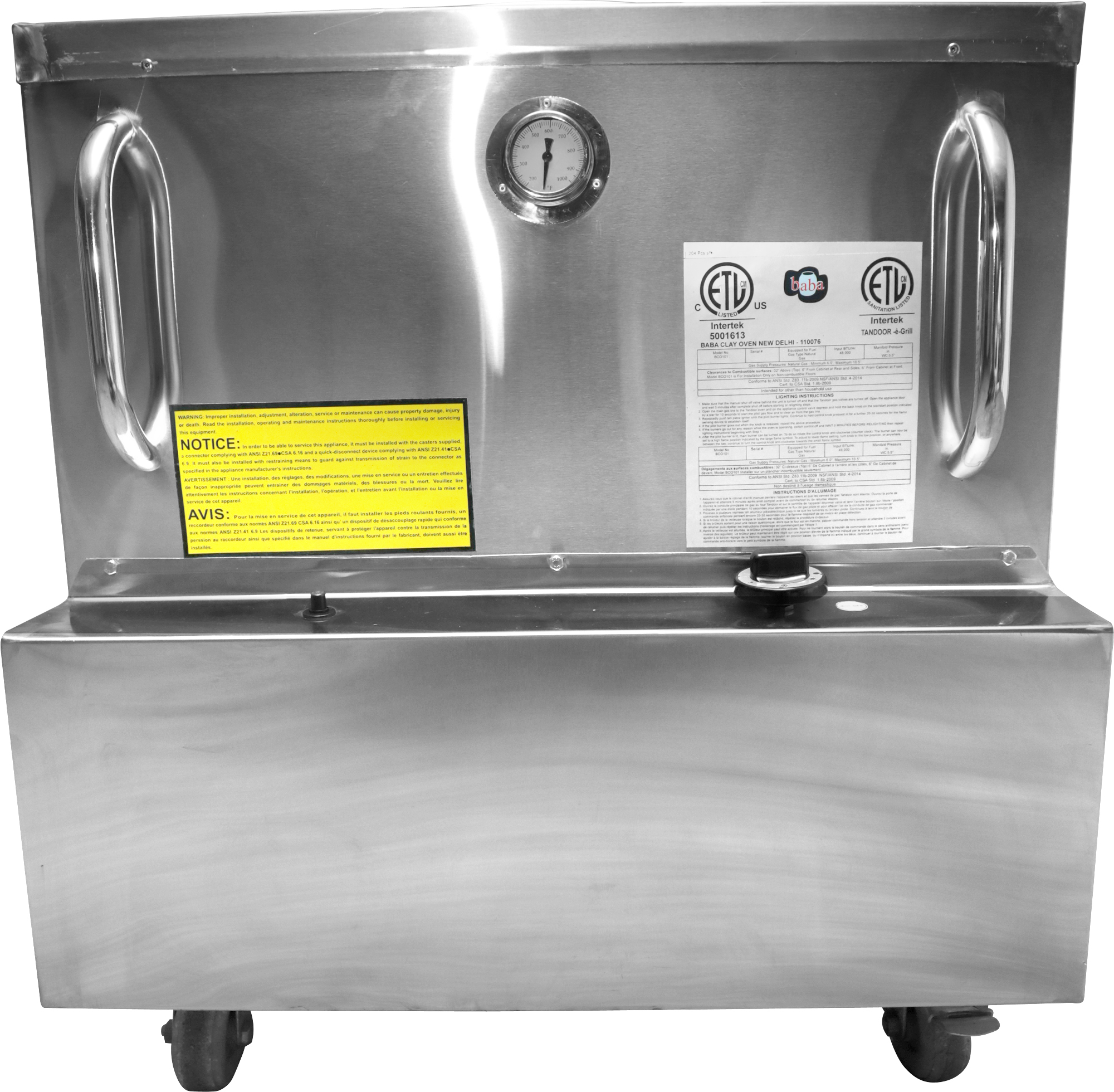 "28"" x 30"" Stainless Steel Tandoor Clay Oven - Natural Gas"