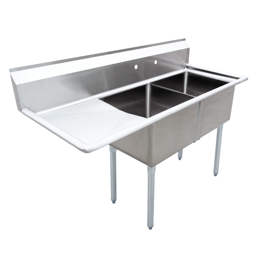 18 X 18 X 11 Two Tub Sink With 1 8 Corner Drain And Left Drain Board