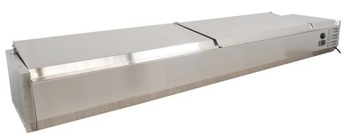 59-inch Refrigerated Topping Rail with Stainless Steel Cover