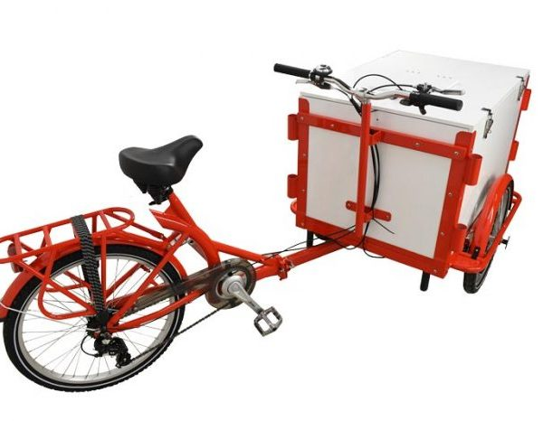 Front Load Tricycle Ice Cream Bike Red Frame With White Wooden Box