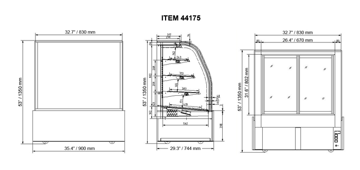 35 Inch Refrigerated Floor Showcase Omcan