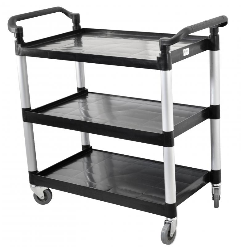 Black Plastic Bussing Cart With 19 5 Quot X 31 Quot Tray Size Omcan