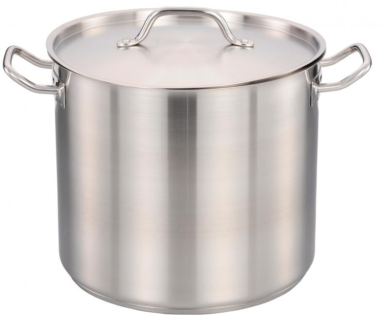 20 Qt Stainless Steel Stock Pot With Cover Omcan